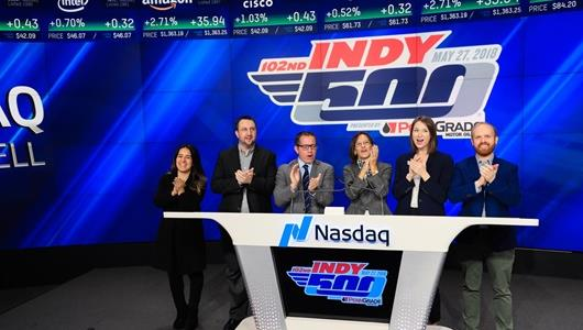Allison Melangton joined by representatives of the Indianapolis Motor Speedway and Crown Royal ring the Closing Bell at the NASDAQ in New York City
