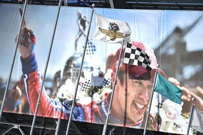 A close-up of the Takuma Sato image from Winner's Circle that was utilized in the first piece of 'THIS IS MAY.' campaign art