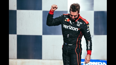 Will Power celebrates his win at the INDYCAR GP