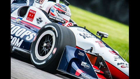 Graham Rahal on course during practice for the INDYCAR Grand Prix at the Indianapolis Motor Speedway