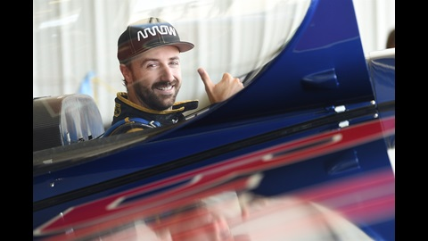James Hinchcliffe Prepares for a Red Bull Air Race ride with Kirby Chambliss.